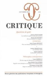 Critique. n° 821, Questions de goût de Collectif, 11,50€ - ed. Minuitl sur commande EAN 13 : 9782818503638